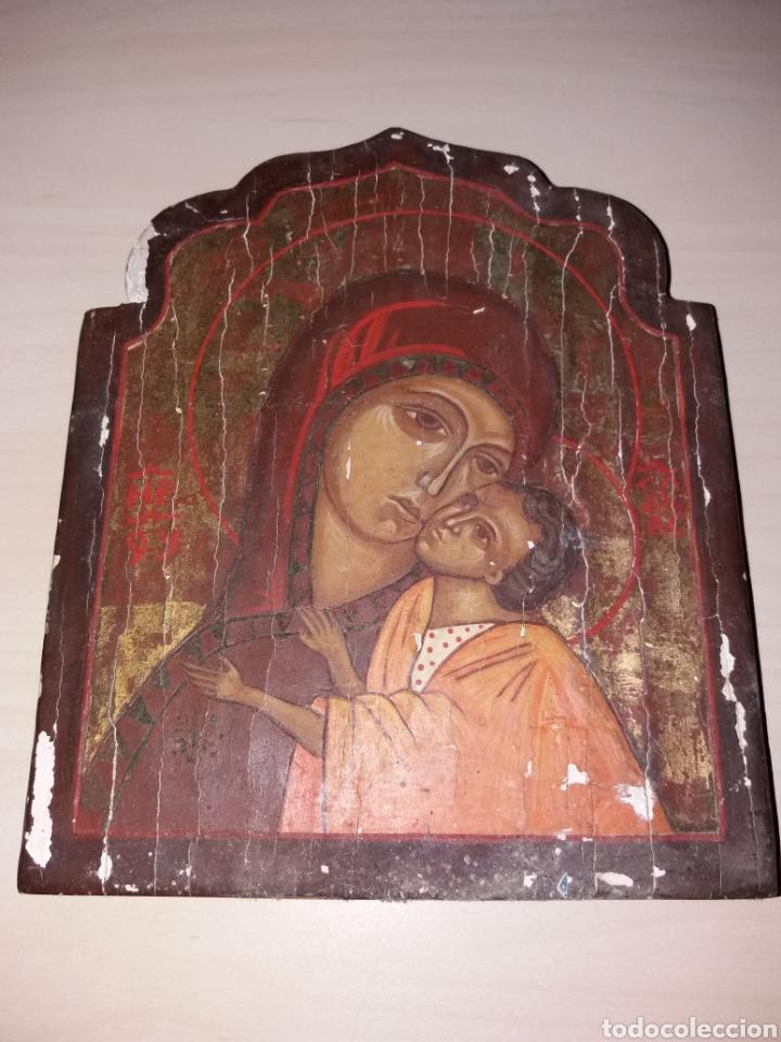 ANTIGUO RETABLO, ICONO PINTADO SOBRE TABLA (Arte - Arte Religioso - Retablos)