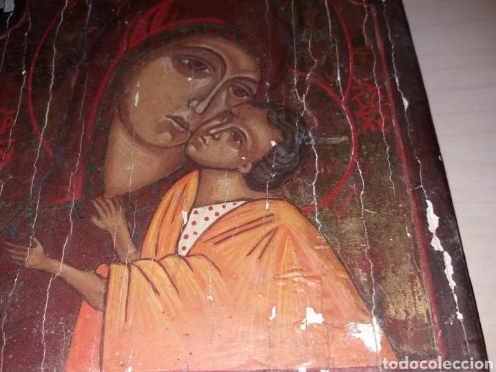 Arte: Antiguo retablo, icono pintado sobre tabla - Foto 4 - 130137954