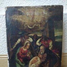 Arte: OLEO SOBRE TABLA RETABLO MUY ANTIGUO (POSIBLE S.XVI) NACIMIENTO DE CRISTO.. Lote 130148711