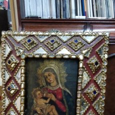 Arte: VIRGEN MARÍA Y NIÑO JESÚS, OLEO SOBRE TABLA S.XVII ENMARCADO.. Lote 130221115