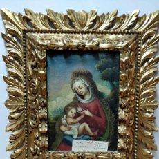 Arte: VIRGEN MARÍA Y NIÑO JESÚS, OLEO SOBRE LIENZO S.XVII ENMARCADO.. Lote 130222799