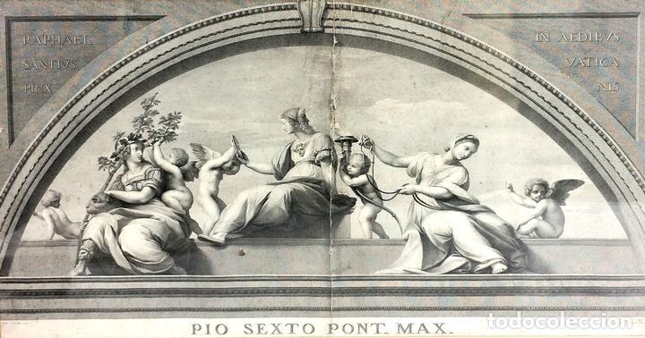 LAS VIRTUDES TEOLOGALES Y LA LEY. GRABADO. DE UN ORIGINAL DE RAFAEL. RAPH MORGHEN. ROMA. XVIII (Arte - Arte Religioso - Grabados)