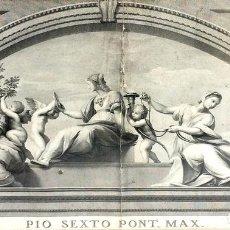 Arte: LAS VIRTUDES TEOLOGALES Y LA LEY. GRABADO. DE UN ORIGINAL DE RAFAEL. RAPH MORGHEN. ROMA. XVIII. Lote 130318098