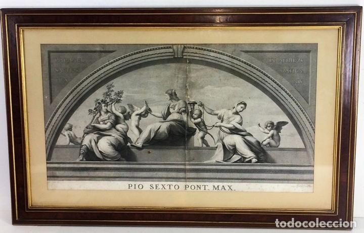 Arte: LAS VIRTUDES TEOLOGALES Y LA LEY. GRABADO. DE UN ORIGINAL DE RAFAEL. RAPH MORGHEN. ROMA. XVIII - Foto 2 - 130318098