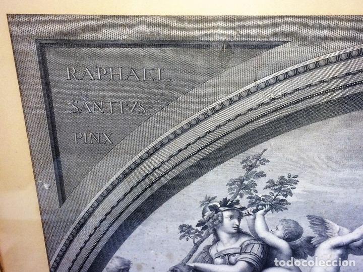Arte: LAS VIRTUDES TEOLOGALES Y LA LEY. GRABADO. DE UN ORIGINAL DE RAFAEL. RAPH MORGHEN. ROMA. XVIII - Foto 3 - 130318098