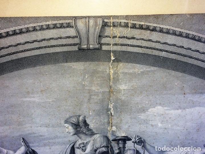 Arte: LAS VIRTUDES TEOLOGALES Y LA LEY. GRABADO. DE UN ORIGINAL DE RAFAEL. RAPH MORGHEN. ROMA. XVIII - Foto 4 - 130318098
