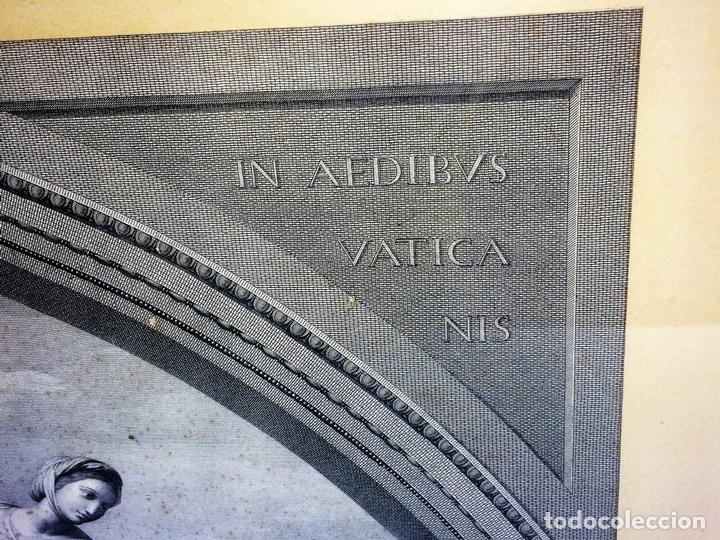 Arte: LAS VIRTUDES TEOLOGALES Y LA LEY. GRABADO. DE UN ORIGINAL DE RAFAEL. RAPH MORGHEN. ROMA. XVIII - Foto 5 - 130318098