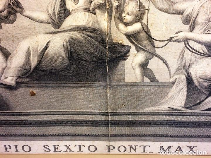 Arte: LAS VIRTUDES TEOLOGALES Y LA LEY. GRABADO. DE UN ORIGINAL DE RAFAEL. RAPH MORGHEN. ROMA. XVIII - Foto 7 - 130318098