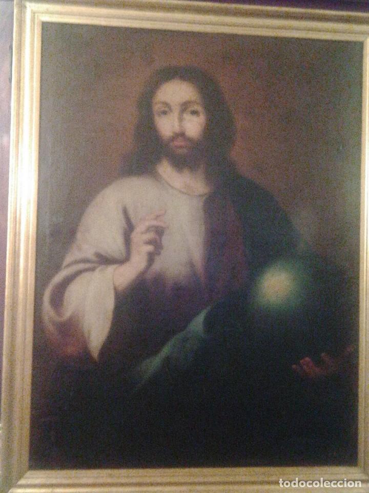 JESUCRISTO CON LA BOLA. LIENZO 110X84. SIGLO XIX PRINCIPIOS. (Arte - Arte Religioso - Pintura Religiosa - Oleo)