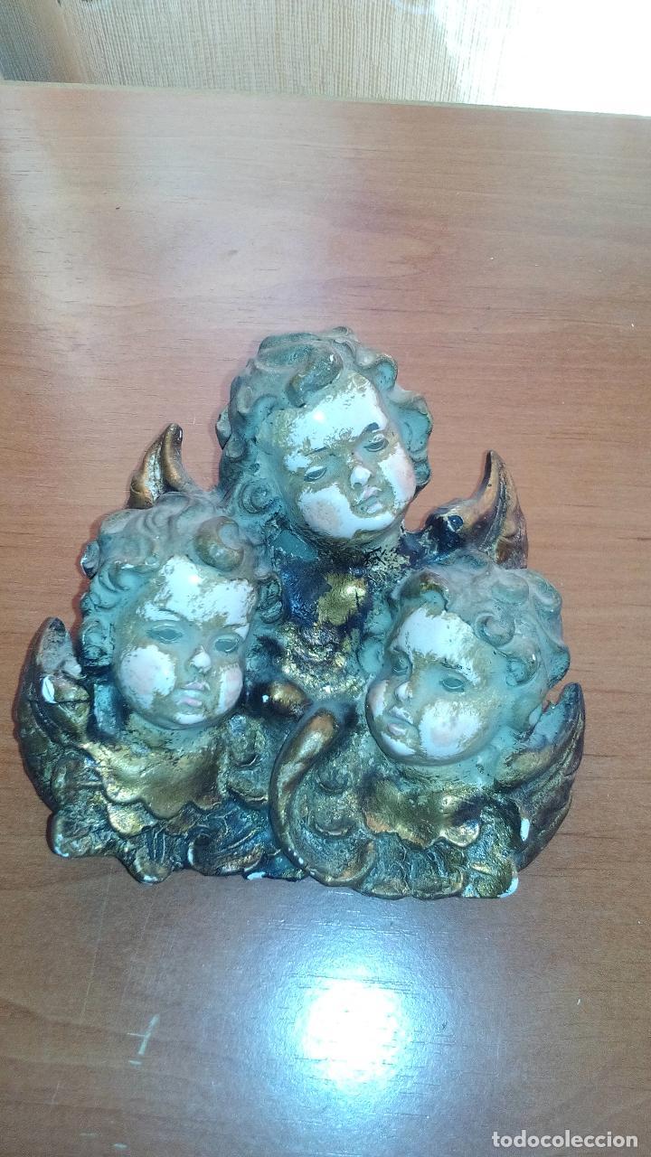TRES QUERUBINES EN ESTUCO POLICROMADO - SIGLO XVIII - ZXY (Arte - Arte Religioso - Escultura)
