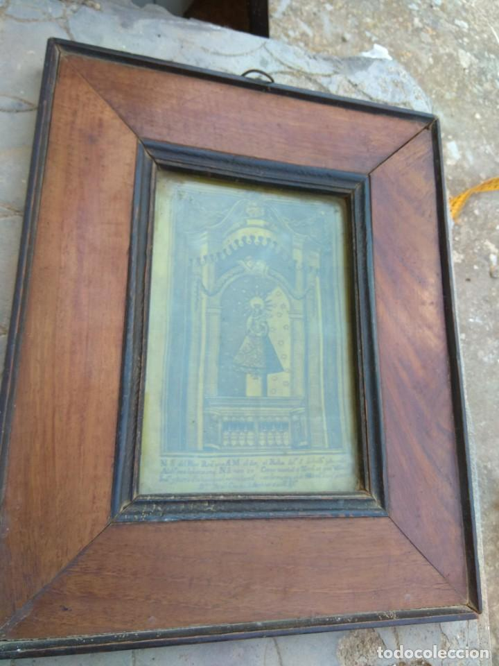 Arte: Antiguo Grabado en Seda de la Virgen del Pilar - Foto 2 - 130410558