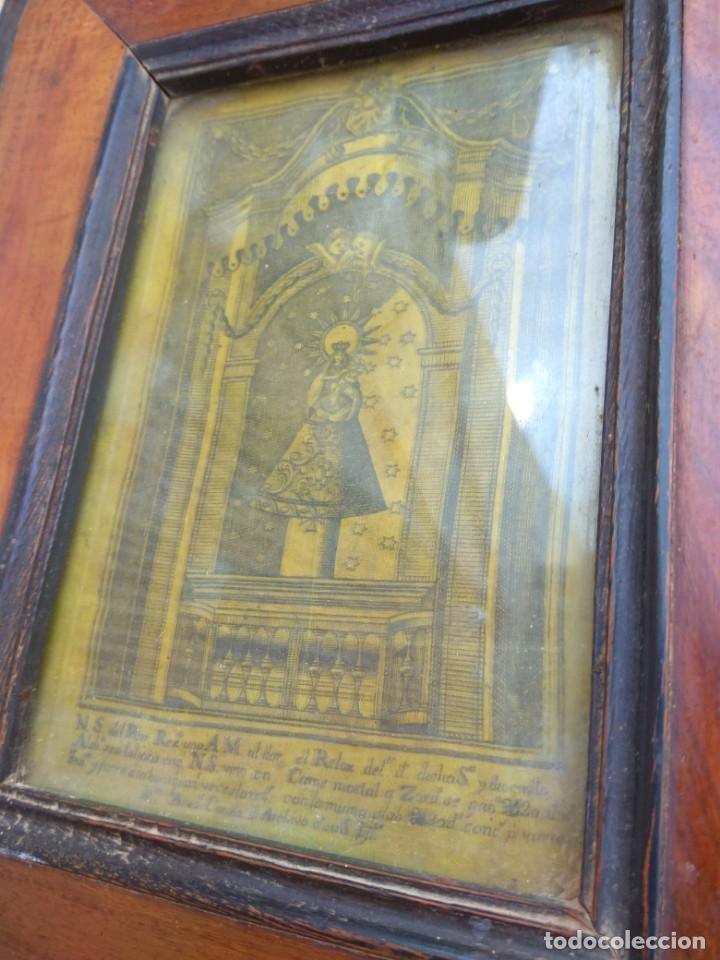 Arte: Antiguo Grabado en Seda de la Virgen del Pilar - Foto 3 - 130410558