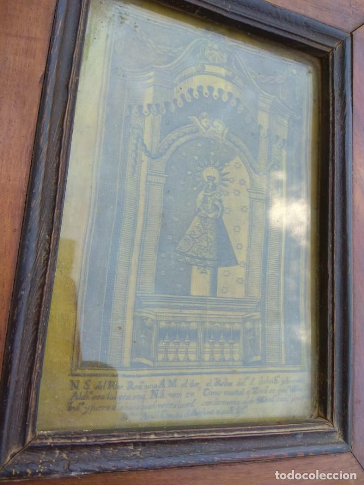 Arte: Antiguo Grabado en Seda de la Virgen del Pilar - Foto 4 - 130410558