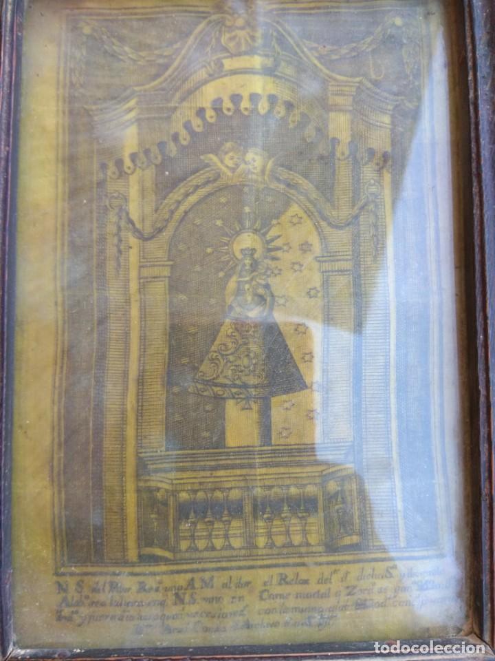 Arte: Antiguo Grabado en Seda de la Virgen del Pilar - Foto 5 - 130410558