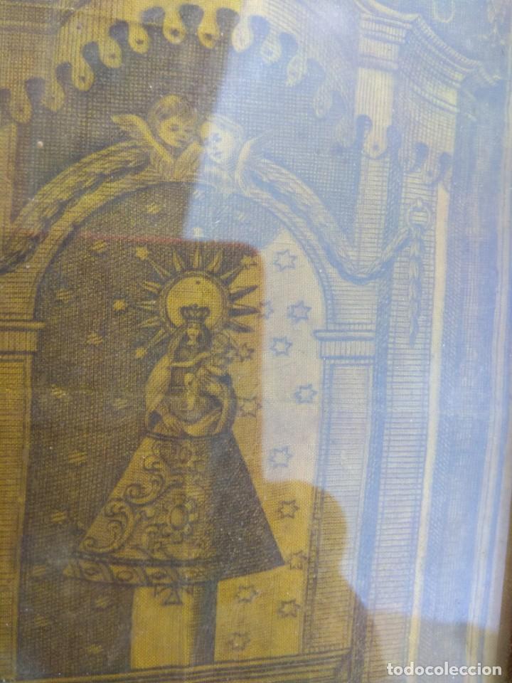 Arte: Antiguo Grabado en Seda de la Virgen del Pilar - Foto 6 - 130410558