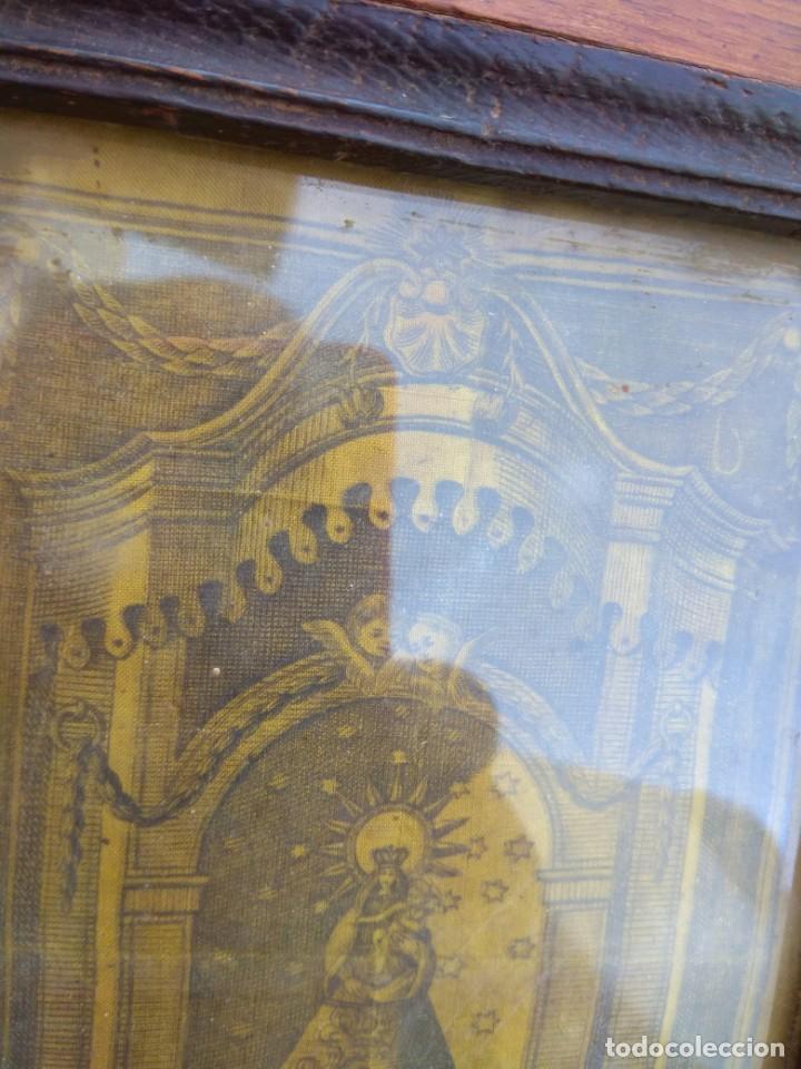 Arte: Antiguo Grabado en Seda de la Virgen del Pilar - Foto 7 - 130410558
