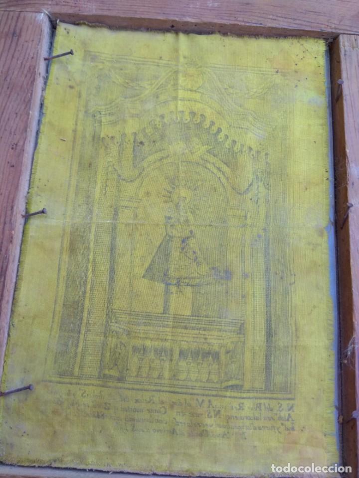 Arte: Antiguo Grabado en Seda de la Virgen del Pilar - Foto 12 - 130410558