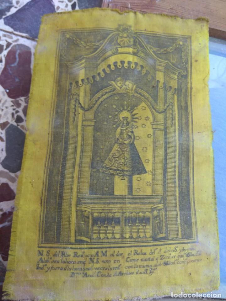 Arte: Antiguo Grabado en Seda de la Virgen del Pilar - Foto 13 - 130410558