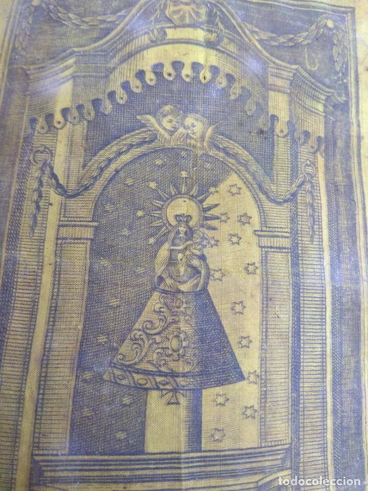 Arte: Antiguo Grabado en Seda de la Virgen del Pilar - Foto 14 - 130410558