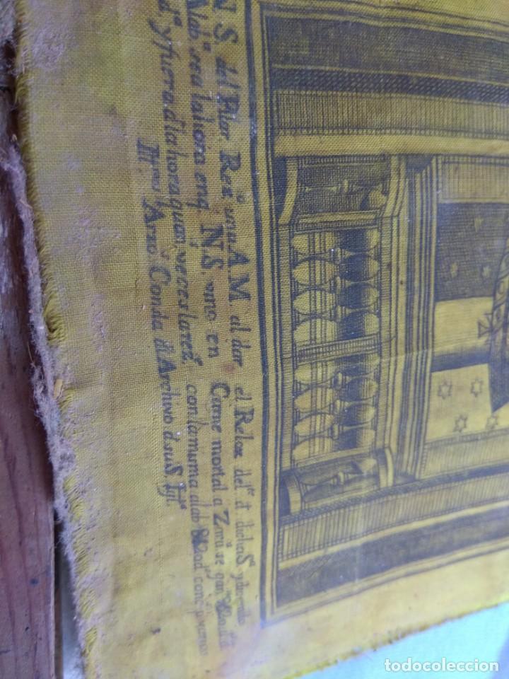 Arte: Antiguo Grabado en Seda de la Virgen del Pilar - Foto 15 - 130410558