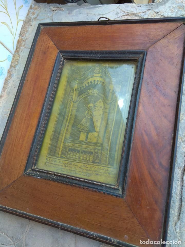 Arte: Antiguo Grabado en Seda de la Virgen del Pilar - Foto 17 - 130410558