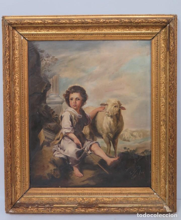 GRAN COPIA DE SAN JUANITO MURILLO. ENRIQUE DORDA (LEÓN, 1872–NUEVA YORK, 1944). FECHADO 1886 (Arte - Arte Religioso - Pintura Religiosa - Oleo)