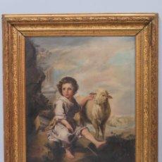 Arte: GRAN COPIA DE SAN JUANITO MURILLO. ENRIQUE DORDA (LEÓN, 1872–NUEVA YORK, 1944). FECHADO 1886. Lote 130537706