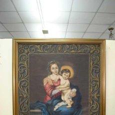 Arte: TAPIZ PINTADO A MANO VIRGEN Y NIÑO - MADONNA. Lote 130541634