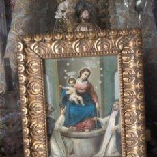 Arte: ANTIGUO MARCO MADERA PAN DE ORO O DORADO CON CROMOGRAFIA DE LA VIRGEN NIÑO JESUS .. Lote 130666878