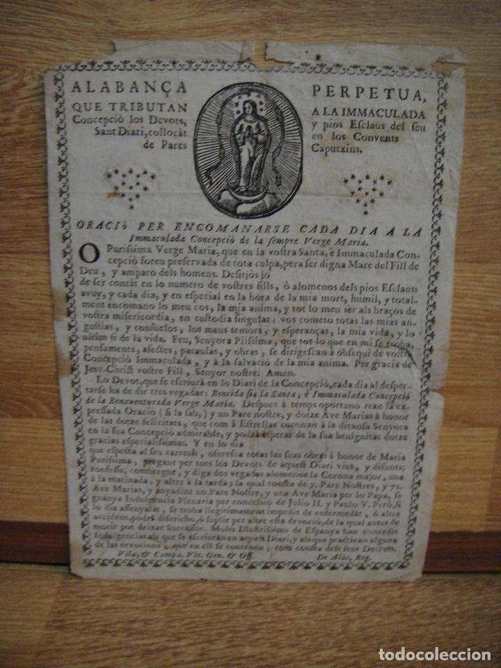 ALABANCA PERPETUA A LA INMACULADA POR LOS PARES DE LOS CONVENTS CAPUTXINS. (Arte - Arte Religioso - Grabados)