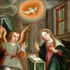 Arte: ESCUELA ESPAÑOLA DE FINALES DEL SIGLO XVIII. OLEO SOBRE COBRE. LA ANUNCIACION. Lote 130776428