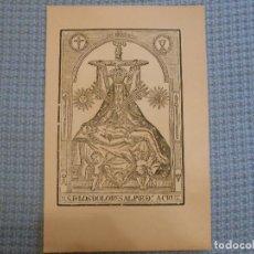 Arte: SIGLO XIX VIRGEN NUESTRA SEÑORA DE LOS DOLORES CON CRISTO - GRABADO XILOGRAFICO RELIGION. Lote 130778396