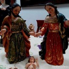 Arte: ESCULTURA SAN JOSE Y EL NIÑO Y LA VIRGEN MARIA MEDIDAS 40 CM DE ALTURA LLEVA FULL ORO DE 23 K. Lote 120578168
