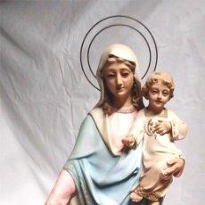 Arte: VIRGEN DEL ROSARIO ARTE CRISTIANO OLOT AÑOS 40, PASTA MADERA ACABADOS 1ERA, OJOS CRISTAL. MED. 44 CM. Lote 131001800