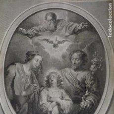 Arte: ANTIGUO GRABADO OVALADO SAGRADA FAMILIA S. XVIII. EN PERFECTO ESTADO. RARO.. Lote 131045992