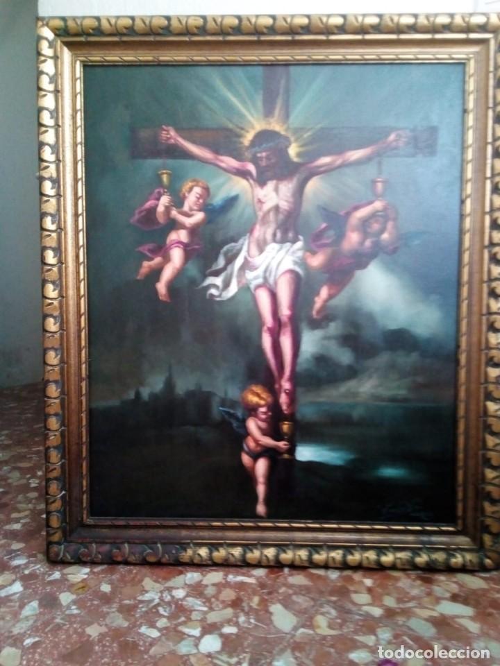 CRISTO CRUCIFICADO. LIENZO 100X81. MARCO INCLUIDO. JOLOGA. (Arte - Arte Religioso - Pintura Religiosa - Oleo)