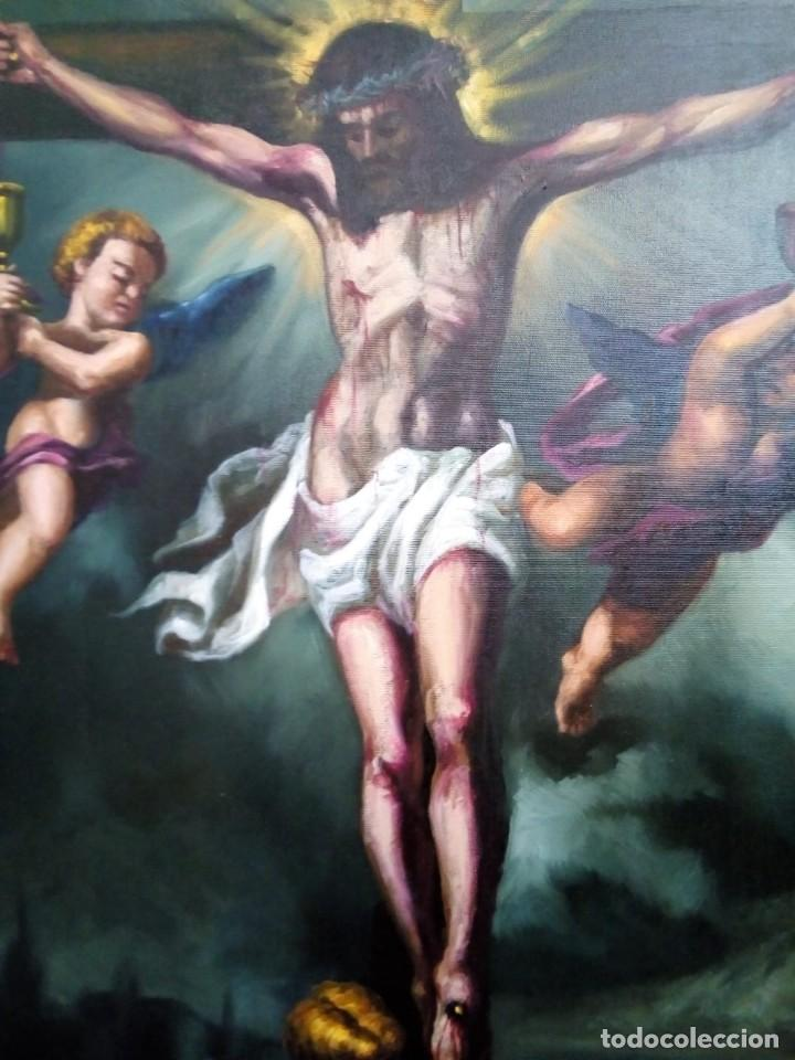 Arte: CRISTO CRUCIFICADO. LIENZO 100X81. MARCO INCLUIDO. JOLOGA. - Foto 8 - 131075068