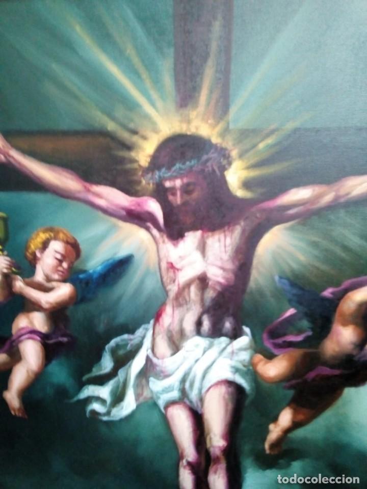 Arte: CRISTO CRUCIFICADO. LIENZO 100X81. MARCO INCLUIDO. JOLOGA. - Foto 10 - 131075068