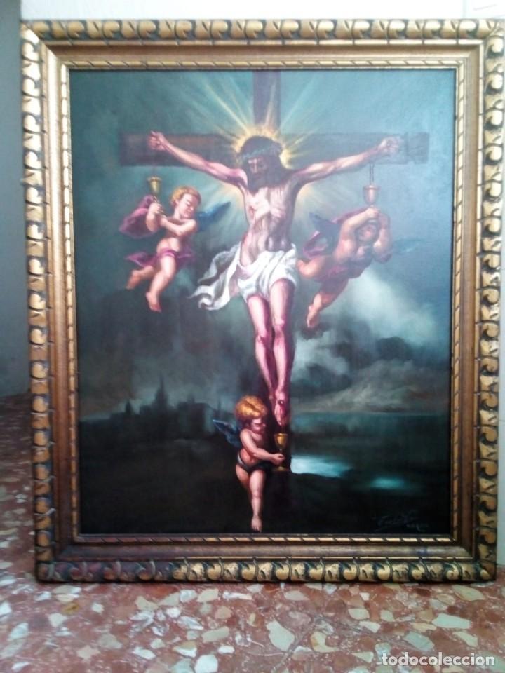 Arte: CRISTO CRUCIFICADO. LIENZO 100X81. MARCO INCLUIDO. JOLOGA. - Foto 11 - 131075068