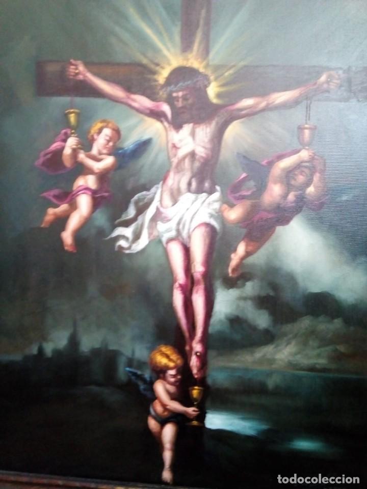 Arte: CRISTO CRUCIFICADO. LIENZO 100X81. MARCO INCLUIDO. JOLOGA. - Foto 12 - 131075068