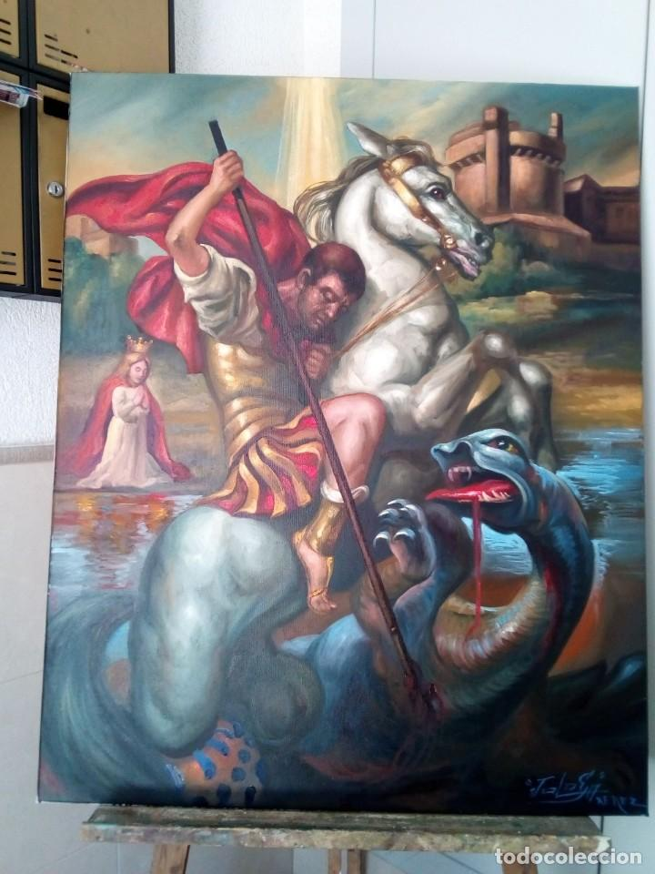 SAN JORGE. LIENZO 100X81. MARCO INCLUIDO. JOLOGA. (Arte - Arte Religioso - Pintura Religiosa - Oleo)