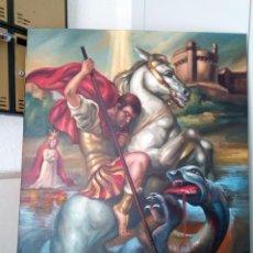 Arte: SAN JORGE. LIENZO 100X81. MARCO INCLUIDO. JOLOGA.. Lote 131075920