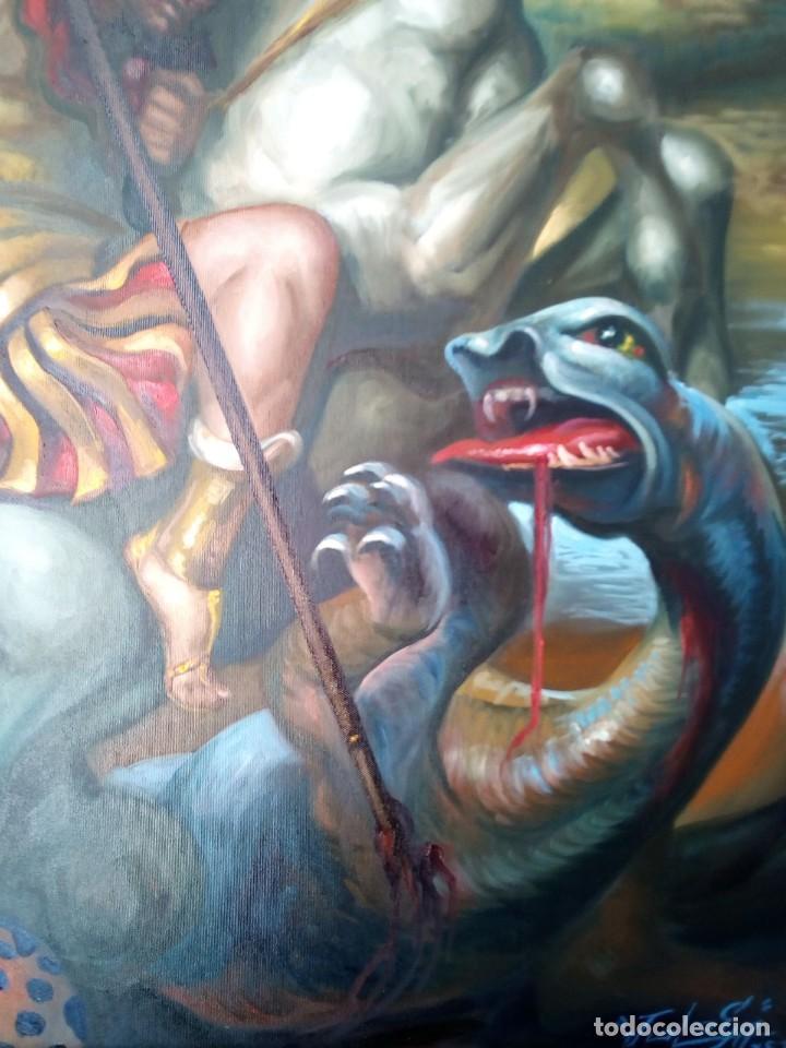 Arte: SAN JORGE. LIENZO 100X81. MARCO INCLUIDO. JOLOGA. - Foto 8 - 131075920