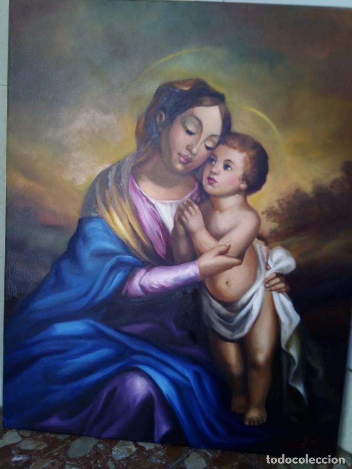 VIRGEN CON NIÑO. LIENZO 100X81. MARCO INCLUIDO. JOLOGA. (Arte - Arte Religioso - Pintura Religiosa - Oleo)