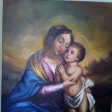 Arte: VIRGEN CON NIÑO. LIENZO 100X81. MARCO INCLUIDO. JOLOGA.. Lote 131076284