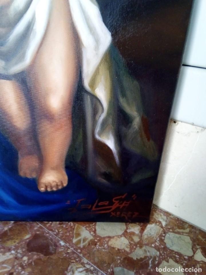 Arte: VIRGEN CON NIÑO. LIENZO 100X81. MARCO INCLUIDO. JOLOGA. - Foto 3 - 131076284