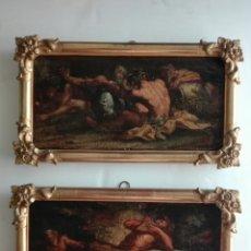 Arte: ESCENAS MITOLOGICAS - DIONISO Y PAN - OLEO SOBRE LIENZO - SIGLO XVIII - PAREJA CUADROS. Lote 131295975
