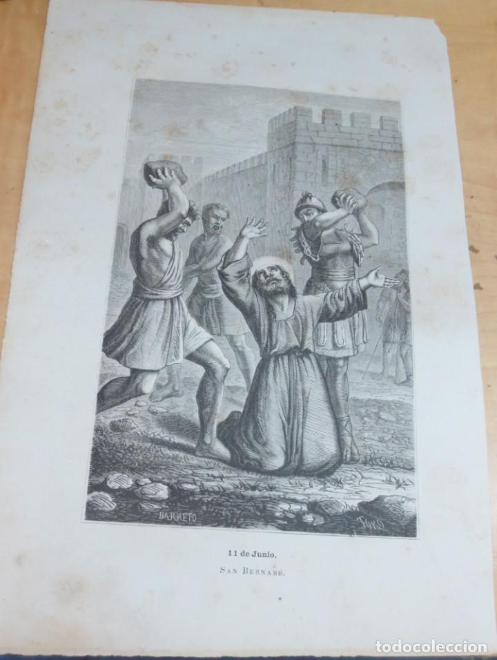 LÁMINA LITOGRAFÍA RELIGIOSA SAN BERNABÉ (Arte - Arte Religioso - Litografías)
