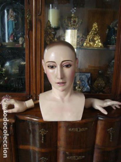VIRGEN TAMAÑO NATURAL PARA PELUCA - MADERA OJOS CRISTAL Y PESTAÑAS JUEGO DE MANOS - SEMANA SANTA (Arte - Arte Religioso - Escultura)