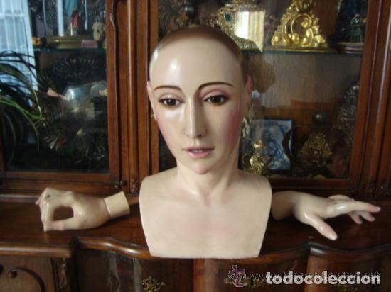 Arte: virgen tamaño natural PARA PELUCA - madera ojos cristal Y PESTAÑAS JUEGO DE manos - SEMANA SANTA - Foto 5 - 131461990